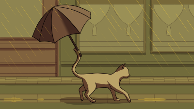 Cat with an Umbrella