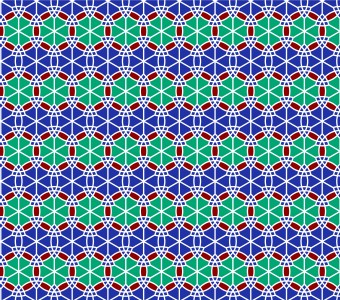 Moroccan Rosette Red & Blue