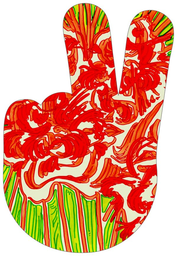 """Peace Sign Hand 9"""""""